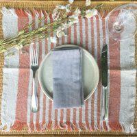 set de table lin lavé rayé belgique