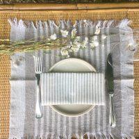 set de table franges rayé minimaliste campagne